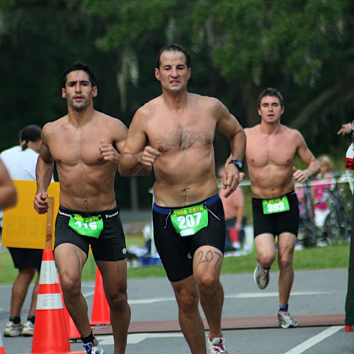 Participants running in the triathlon