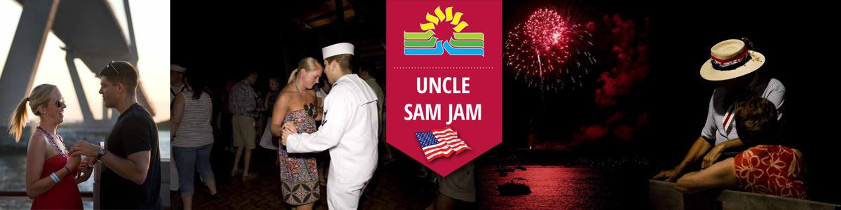 Uncle Sam Jam Banner with images of people dancing, talking and fireworks over Charleston Harbor