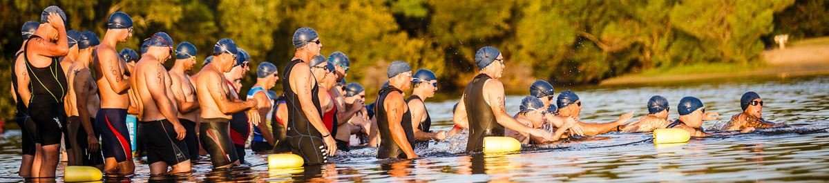 Swimmers preparing to begin the Charleston Sprint Triathlon Series