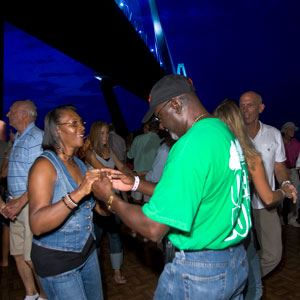 Image of people dancing on the Mount Pleasant Pier during Shaggin' on the Cooper