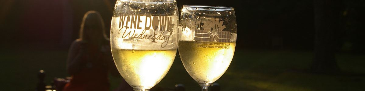 Image of two wine glasses at Wine Down Wednesday