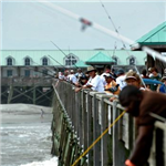 Fishing tournament participants at the Folly Beach Pier