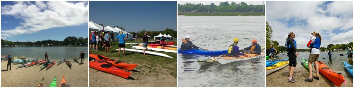 Collage of East Coast Paddlesports Symposium visitors and kayaks at the lake at James Island County