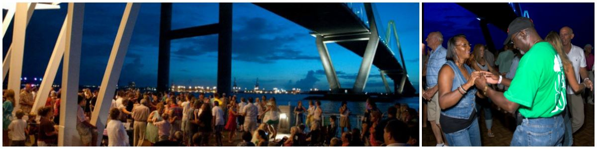 Image of people dancing at Shaggin' on the Cooper on the Mount Pleasant Pier with the Ravenel Bri