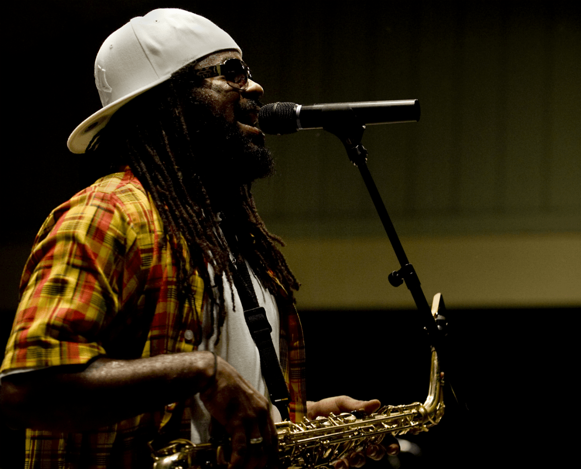 Reggae Nights singer on stage