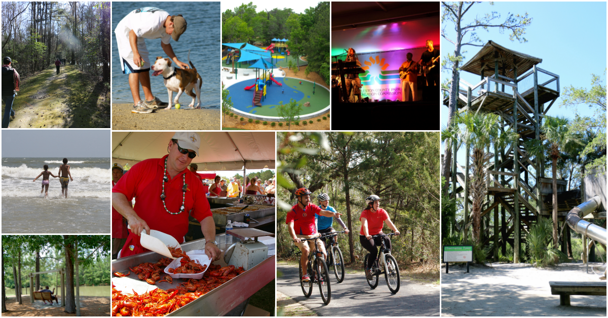 Collage of images of beach scenes, the Cajun festival, bicyclists, dog park, observation tower, wood