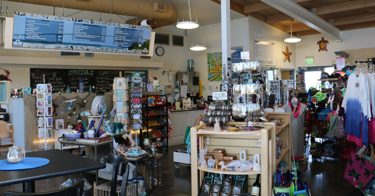 The interior of the River Watch Cafe and Gift Shop at the Mount Pleasant Pier offers unique gift ite