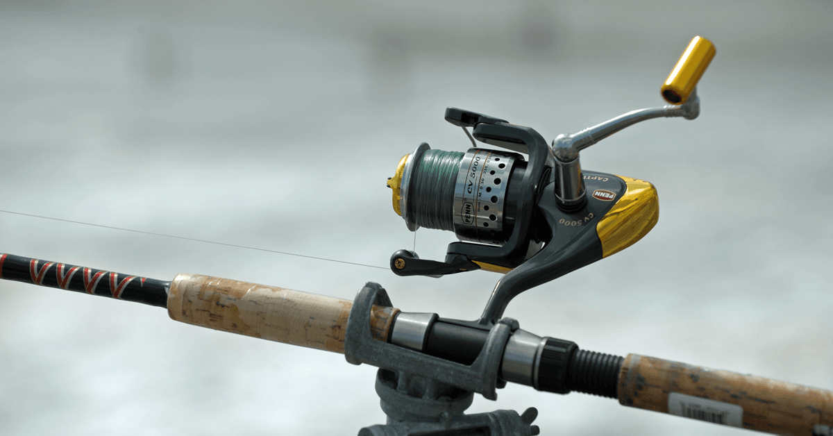 a rod and reel on the fishing pier