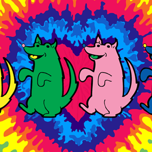 Colorful dancing dogs on a tie-dyed background