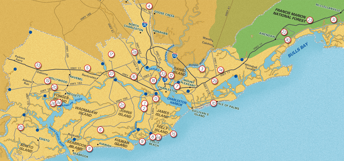 Charleston County Parks agency map of facility locations