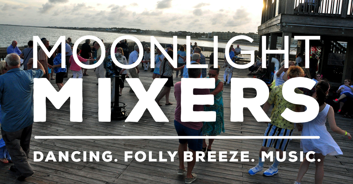 Moonlight Mixer and people dancing on the end of the Folly Beach Pier at sunset