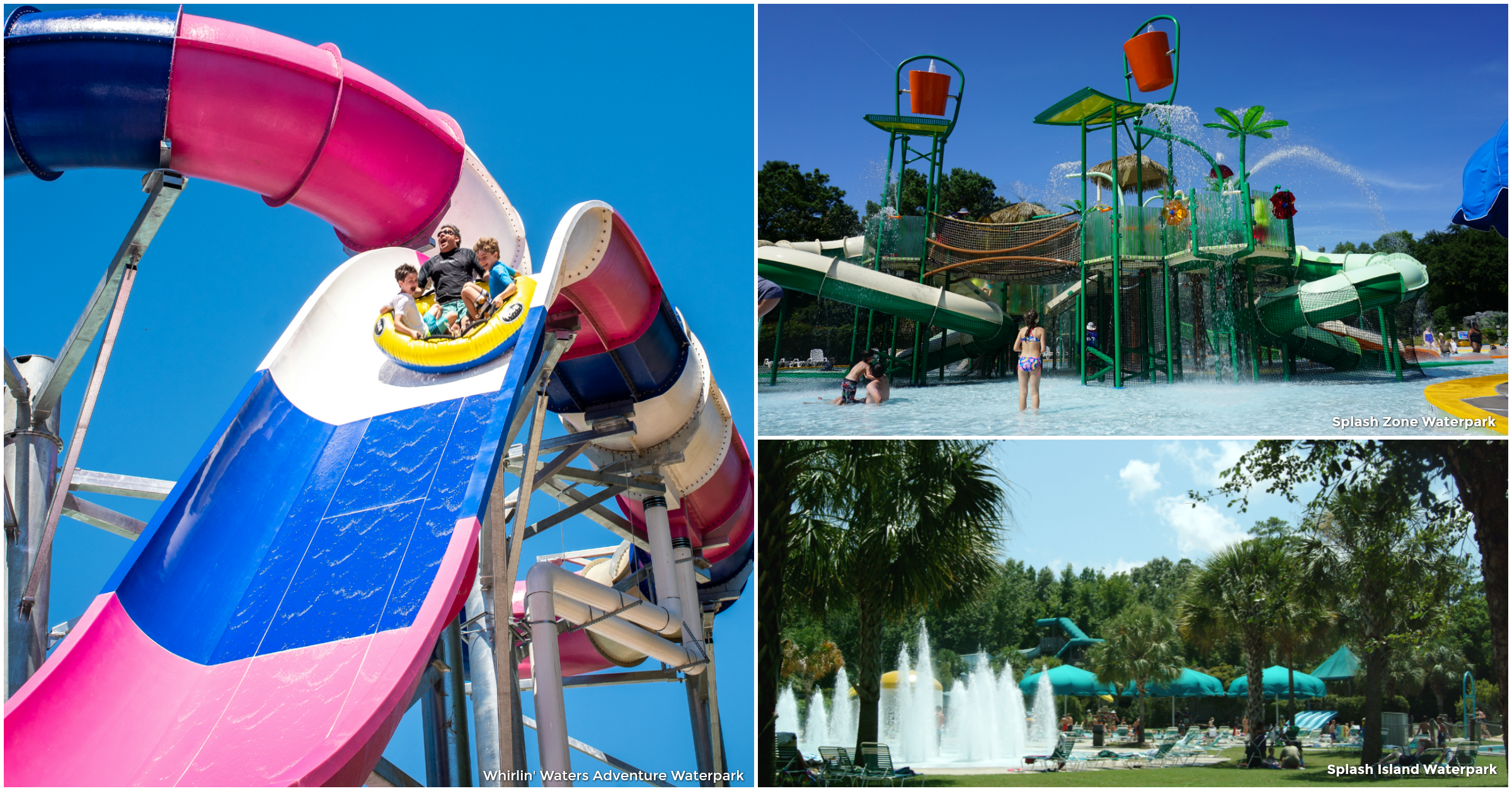Collage of three images - people on an innertube on the Washout at Whirlin' Waters Adventure Wate