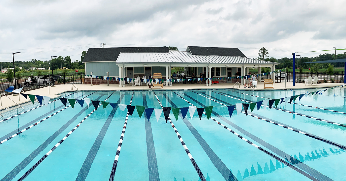 The pool and building at the West County Aquatic Center
