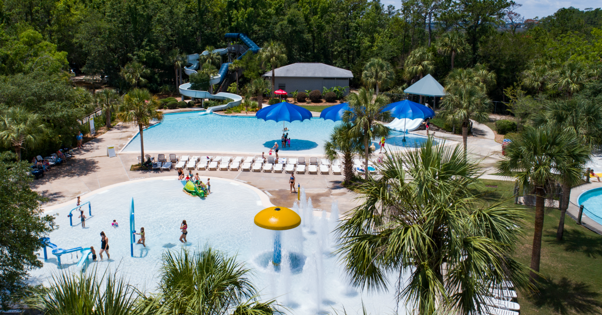 Aerial image of Splash Island waterpark
