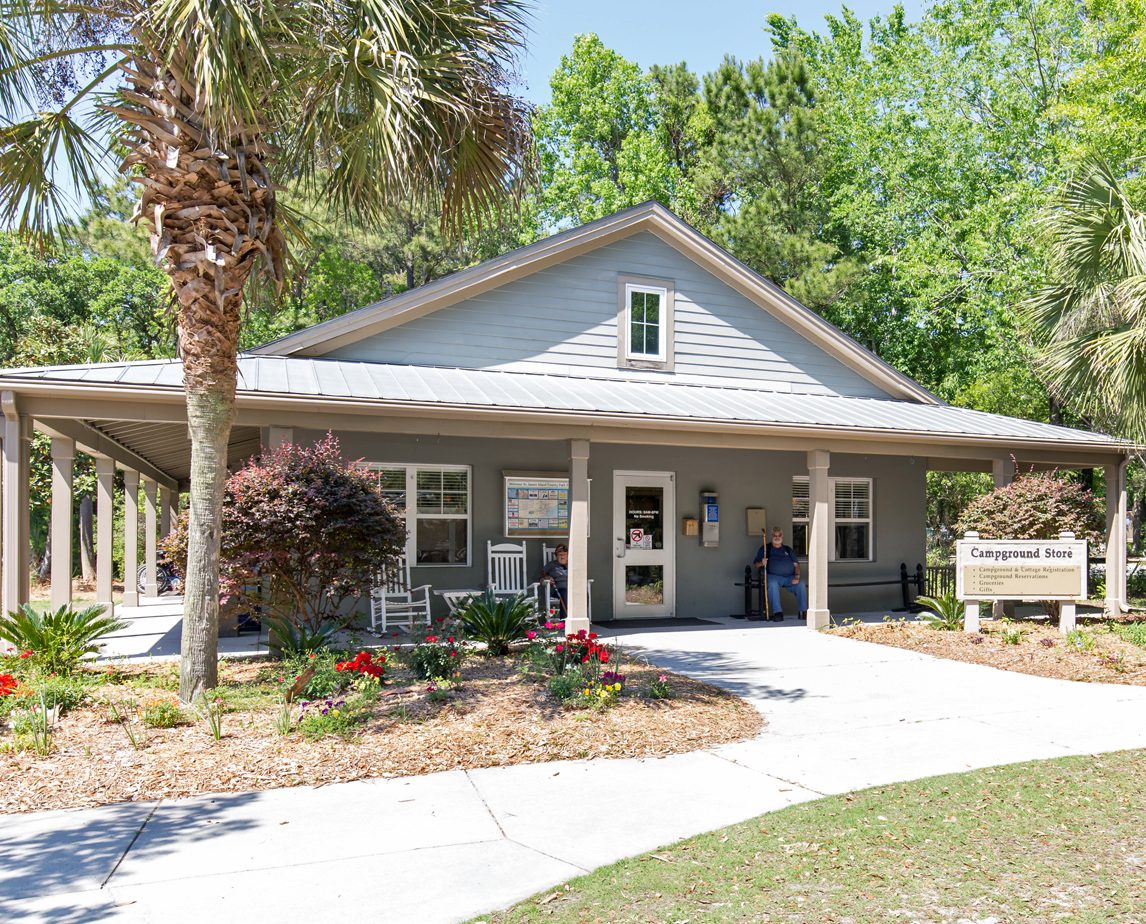 The front of the Campground Store at James Island County Park
