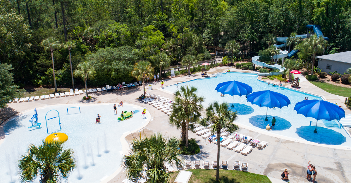 Aerial view of Splash Island Waterpark