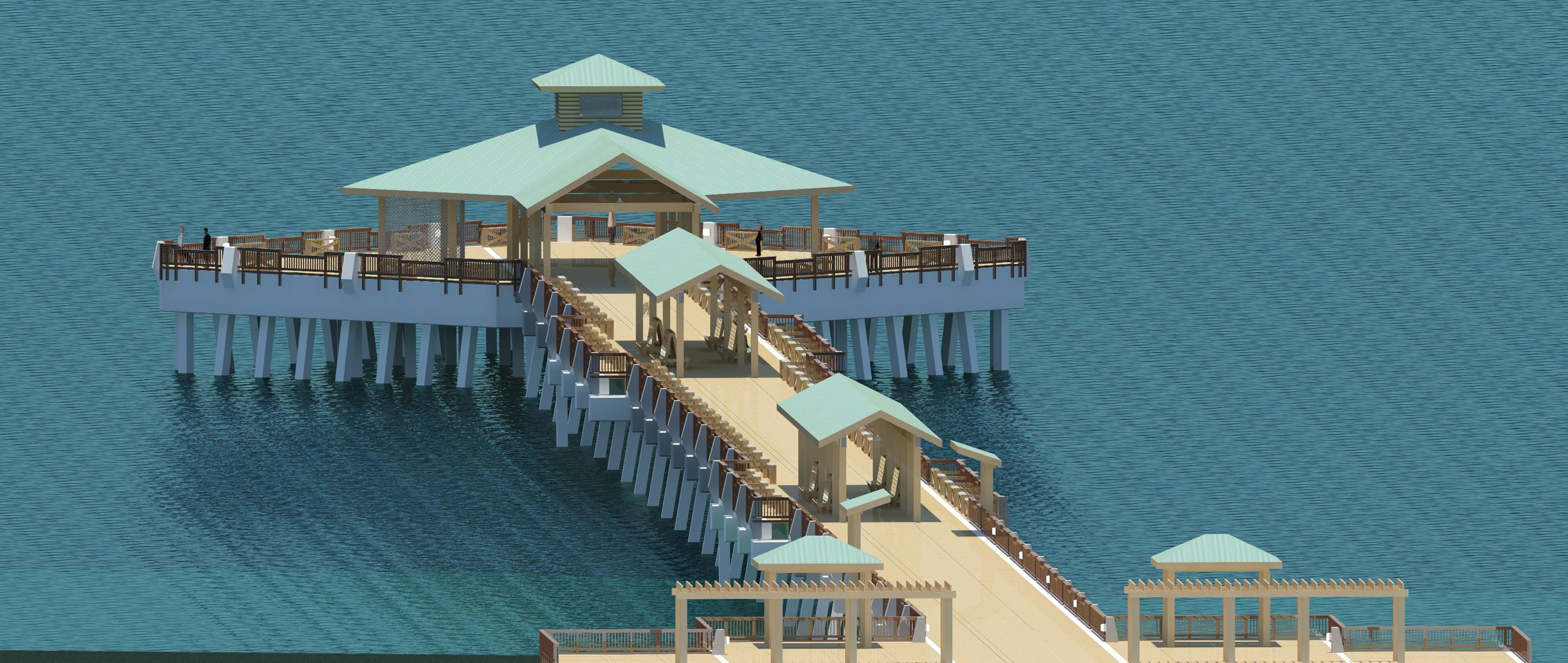 Digital rendering for the replacement Folly Beach Pier