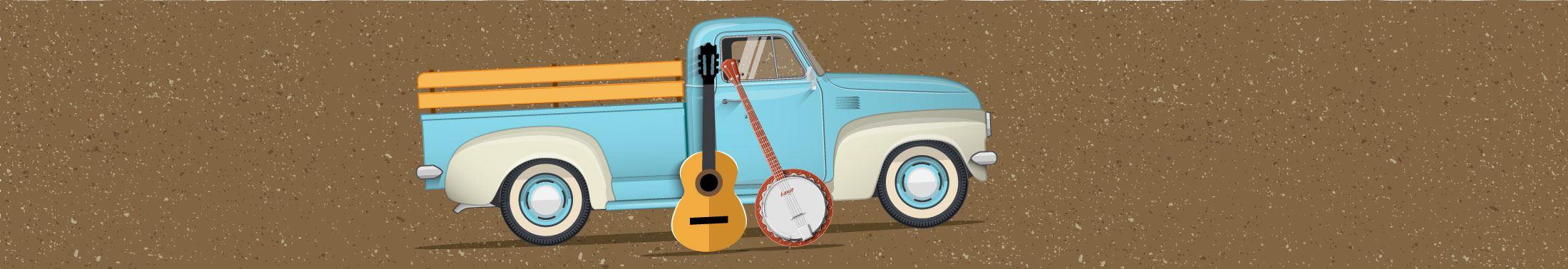 Illustration of a vintage blue truck, a guitar and banjo