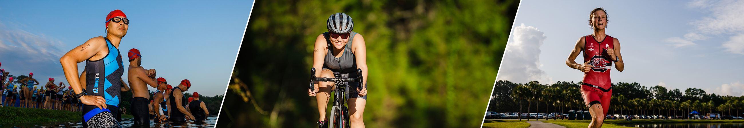 Athletes swimming, biking and running in the Charleston Sprint Triathlon