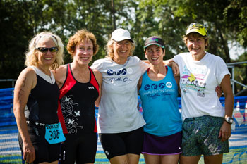 4 female athletes at the Charleston Sprint Triathlon Series