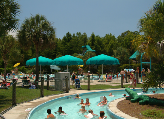 People in the lazy river at Splash Island Waterpark