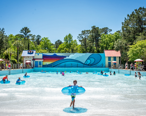 People in tubes in the Big Kahuna wave pool