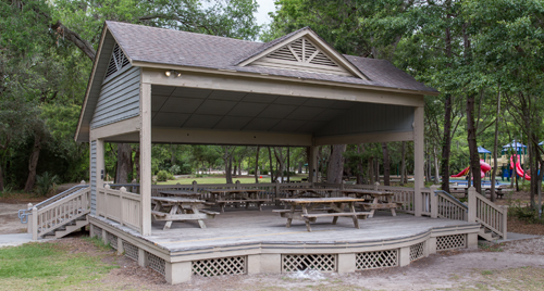 The covered Picnic Center Stage with picnic tables