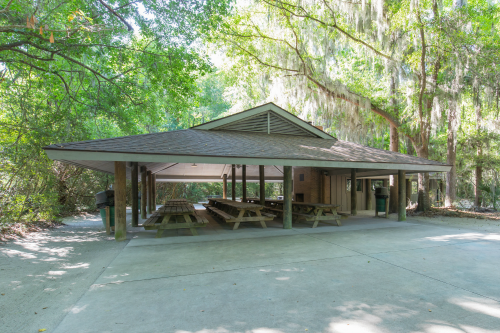 Exterior of the Big Oak Shelter at Palmetto Islands County Park
