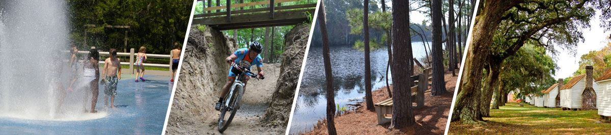 Spray play, Wannamaker North Trail biking, Laurel Hill County Park bench, and McLeod Plantation Hist