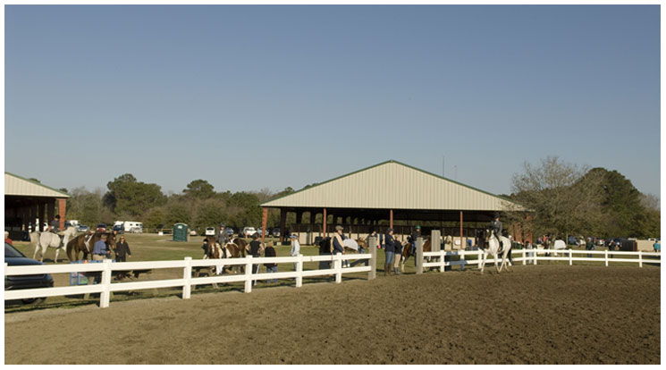 Equestrian Center with Several Horses and Their Riders