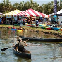 Man paddling a kayak at the Charleston Outdoor Fest