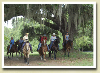Image of a group of trail riders at Mullet Hall Equestrian Center