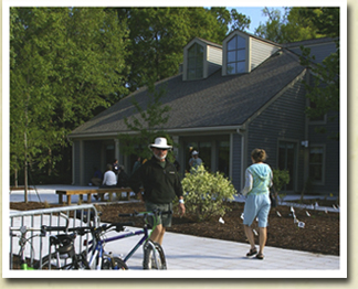 Image of people outside of Edisto Hall at James Island County Park